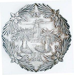 IV Centenário de São Paulo, Prato em Metal Espessurado a Prata com Forte Relevo, Imagem do Banespa, com 38cm