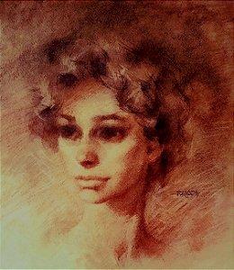 Oscar Palácios - Quadro, Arte, Pintura Figurativa Rosto De Mulher