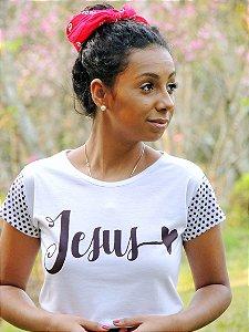 T-shirt Jesus manga estampada