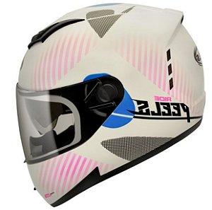 Capacete Peels Feminino Icon Ride Branco/Rosa Com Viseira Interna