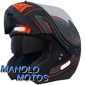 Capacete MT Optimus SV Race Line Preto Fosco/Laranja (Escamoteável)