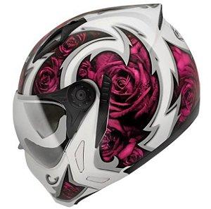 Capacete Peels Feminino Mirage Rose (Branco/Rosa) Com Viseira Interna