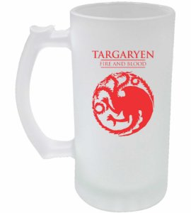 Caneca de Chopp Jateada - Game Of Thrones - Targaryen