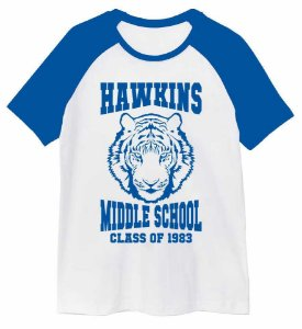 Camiseta Raglan Stranger Things - Hawkins Middle School
