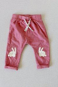 Calça KIABI em Moletom com Cordão e Desenho de Coelhinho nos Joelhos - 12 meses