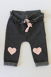 Calça TEDDY BOOM de Moleton com Detalhes de Corações com Gliter nos Joelhos - 6-9 Meses