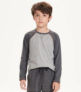 Pijama Manga Longa Infantil Masculino Mescla