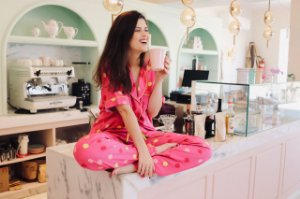 Pijama Floresça Calça e Blusa de Manga Curta