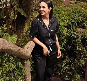 Pijama Preto Liso Calça e Manga Curta