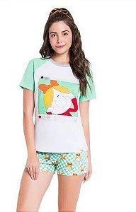 Pijama Manga Curta Raglã Bia Grid