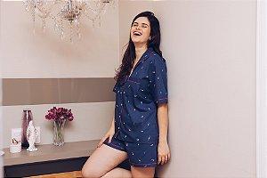 Pijama Azul Sorvete Short e Manga Curta