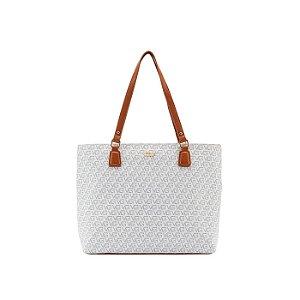 Bolsa Feminina Bicolor Monograma Vogue - Off White