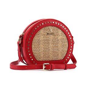 Bolsa Feminina Redonda Palha Vermelha - Bliss