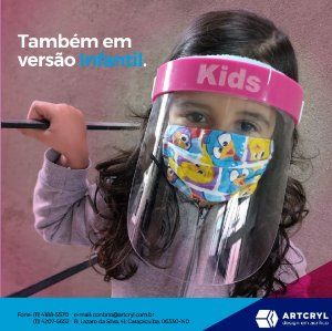Mascara facial (Face Shield) Infantil com visor em petg 0.50mm