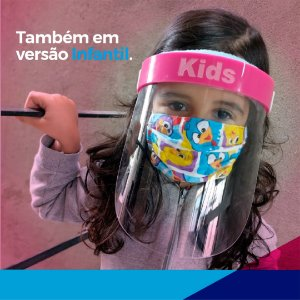 Máscara facial (Face Shield) Infantil com visor em PETG 0.50mm (10 peças)
