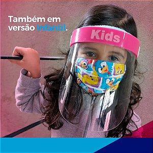Máscara facial (Face Shield) Infantil com visor em PETG 0.50mm (50 peças)