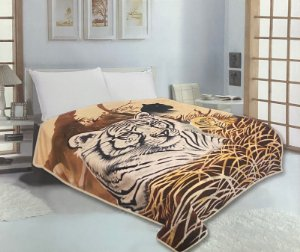 Cobertor Duplo Super Soft Solteiro 640g/m² Tigre Branco - Realce Top Sultan