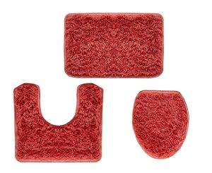 Jogo Para Banheiro Spazio 3 Peças Vermelho - Ornare