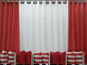 Cortina Composê 3,00 x 1,80 - vermelha e branca