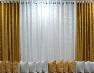 Cortina Jacquard Composê 4,00 x 2,50 - Ouro e Branco