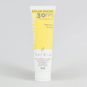 HERBIA - Protetor Solar NATURAL | VEGANO | FÍSICO | Facial Pele mista/seca FPS 30 - 50g