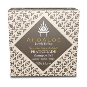 AHOALOE - Shampoo Sólido 3x1: PRATICIDADE 100g - Aloe Vera e Pracaxi