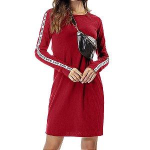 Vestido Ribana Canelada Oui.la.vie Vermelho