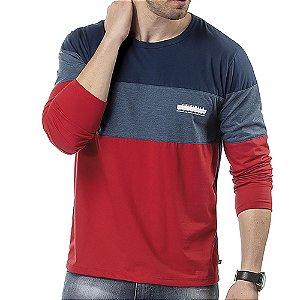 Camiseta Manga Longa Recortes TZE Vermelho/Marinho