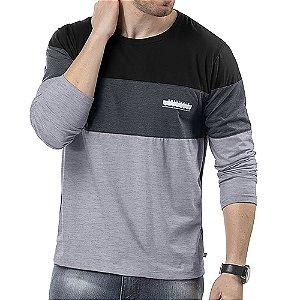 Camiseta Manga Longa Recortes TZE Mescla/Marinho