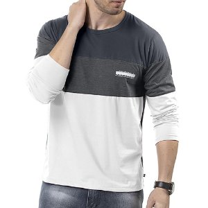 Camiseta Manga Longa Recortes TZE Branco/Marinho