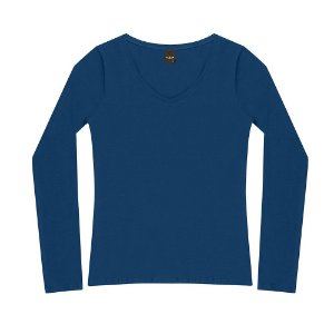 "Blusa Decote ""V"" Cotton Oui.la.vie Azul"