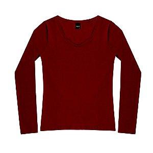 "Blusa Decote ""V"" Cotton Oui.la.vie Vinho"