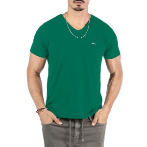 "Camiseta Flamê Decote ""V"" Plaquinha No Stress Verde"
