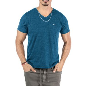 "Camiseta Flamê Decote ""V"" Plaquinha No Stress Azul"