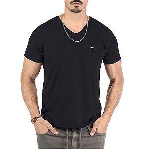 """Camiseta Flamê Decote """"V"""" Plaquinha No Stress Preta"""