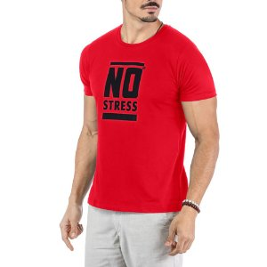 Camiseta Estampa Frontal Logo No Stress Vermelha