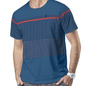 Camiseta Estampa Listras No Stress Azul
