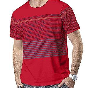 Camiseta Estampa Listras No Stress Vermelha