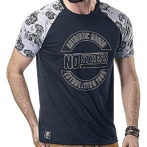Camiseta Raglan Floral No Stress Marinho/Mescla