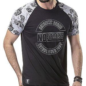 Camiseta Raglan Floral No Stress Preto/Mescla