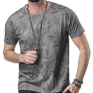 Camiseta Estampa Floral No Stress Cinza