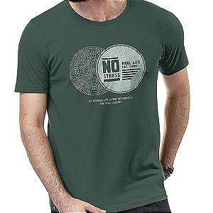 Camiseta Estampa Brilho No Stress Verde Militar