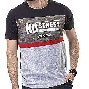 Camiseta Recorte Militar Estampa No Stress Mescla/Preto