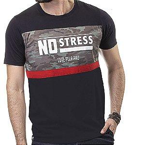 Camiseta Recorte Militar Estampa No Stress Preta