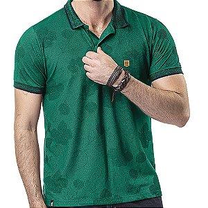 Camisa Polo Piquet Golden Floral Verde