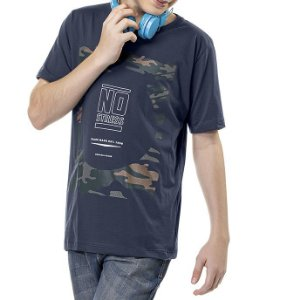 Camiseta Estampa Militar Frontal Menino No Stress Grafite