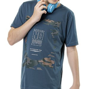 Camiseta Estampa Militar Frontal Menino No Stress Azul