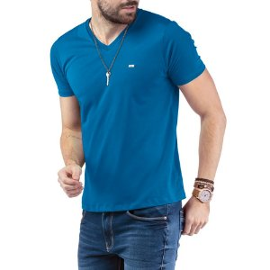 """Camiseta Decote """"V"""" TZE Azul"""