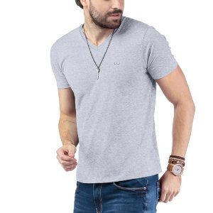 """Camiseta Decote """"V"""" TZE Mescla"""