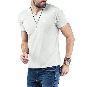 "Camiseta Decote ""V"" TZE Branca"